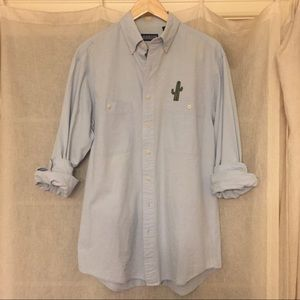 Lands end button up Chambray top